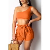 Lovely Leisure One Shoulder Croci Two-piece Shorts