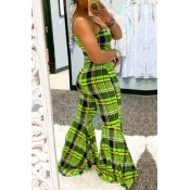 Lovely Trendy Grid Print Green One-piece Jumpsuit