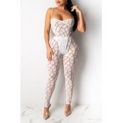 Lovely Sexy Print White Two-piece Pants Set