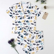 Lovely Leisure Print White Plus Size Two-piece Sho