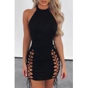 Lovely Sexy Bandage Design Black Mini Dress