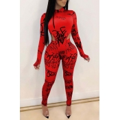 Lovely Casual Letter Print Red Two-piece Pants Set