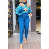 Lovely Stylish Print Blue Two-piece Pants Set