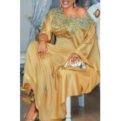 Lovely Casual Patchwork Gold Maxi Plus Size Dress
