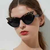 Lovely Chic Cat s Eye Frame Black Sunglasses