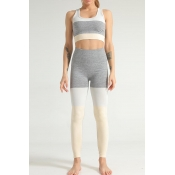 Lovely Sportswear Color-lump Patchwork Yellow Two-