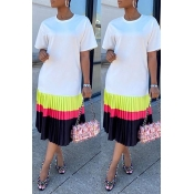 Lovely Leisure Patchwork White Mid Calf Dress