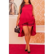 Lovely Stylish Asymmetrical Red Two-piece Shorts S