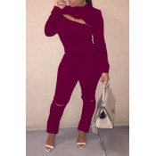 Lovely Trendy Zipper Design Wine Red Two-piece Pan