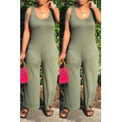 Lovely Casual Pocket Patched Green One-piece Jumpsuit