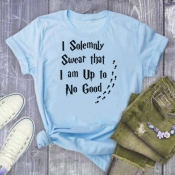 Lovely Leisure O Neck Letter Print Baby Blue Plus
