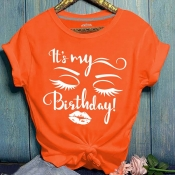 Lovely Casual O Neck Letter Print Orang Plus Size