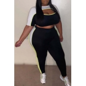 Lovely Leisure Hollow-out Black Plus Size Two-piec
