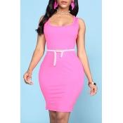 Lovely Trendy U Neck Basic Rose Red Mini Dress
