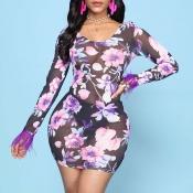 Lovely Sexy Print Multicolor Mini Dress