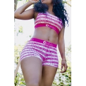 Lovely Leisure Letter Print Rose Red Two-piece Sho