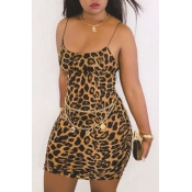 Lovely Casual Print Brown Mini Dress