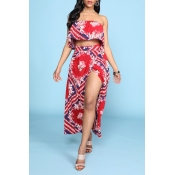 Lovely Bohemian Print Red Two-piece Skirt Set