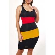 Lovely Leisure Striped Black Knee Length Dress