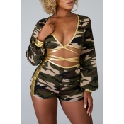 Lovely Sexy V Neck Camo Print Two-piece Shorts Set