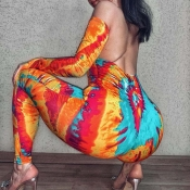 Lovely Sexy Backless Multicolor One-piece Jumpsuit