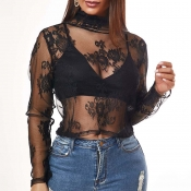 Lovely Sexy See-through Black T-shirt