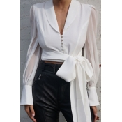 Lovely Trendy Lace-up White Blouse