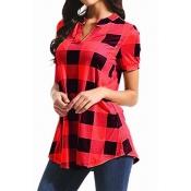 Lovely Trendy Grid Print Red Blouse