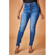 Lovely Trendy Buttons Design Dark Blue Jeans