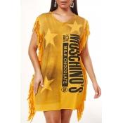 Lovely Casual Tassel Design Yellow Mini Dress