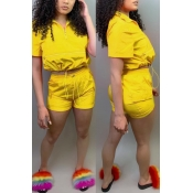Lovely Leisure Lace-up Yellow Two-piece Shorts Set