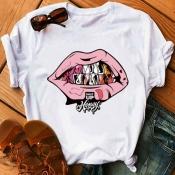 Lovely Leisure O Neck Lip Print Pink Plus Size T-shirt