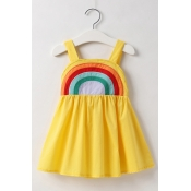 Lovely Sweet Rainbow Striped Yellow Girl Knee Leng
