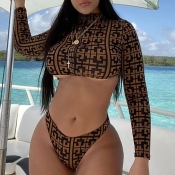 Lovely Print Deep Camel Two-piece Swimsuit