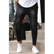 Lovely Trendy Pocket Patched Black Jeans