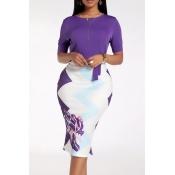Lovely Stylish Patchwork Purple Knee Length Dress