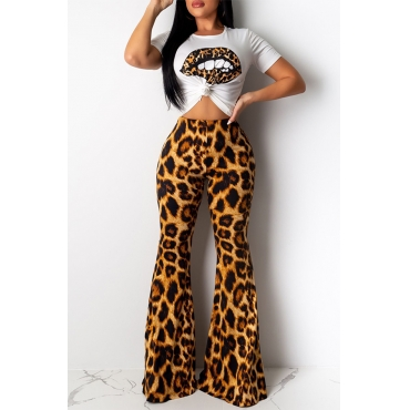 Lovely Casual Lip Printed Yellow Two-piece Pants Set