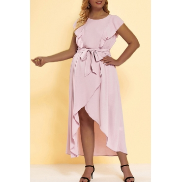 Lovely Chic Asymmetrical Flounce Pink Plus Size  Mini Dress