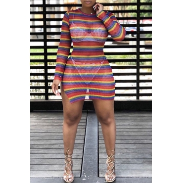 Lovely Chic Striped Multicolor Mini Dress