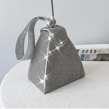 Lovely Trendy Hot Drilling Silver Crossbody Bag