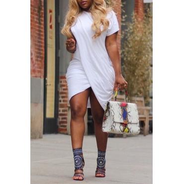 Lovely Polyester Casual Solid Regular sleeve Basic Regular O Neck Mini Bud  Daily Dress