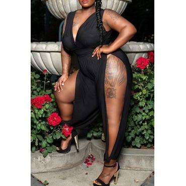 Lovely Trendy Side High Slit Black Plus Size One-piece Jumpsuit