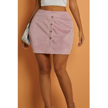 Lovely Casual Button Design Pink Mini Skirt