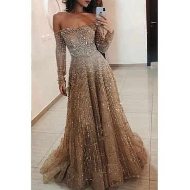 Lovely Party Dew Shoulder Gold Maxi Prom Dress