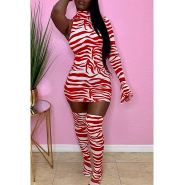 Lovely Casual Striped Print Red Mini Dress
