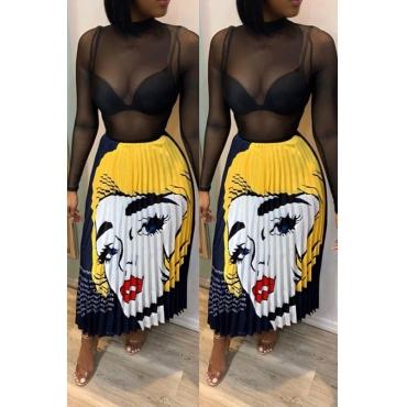 Lovely Stylish Cartoon Print Yellow Skirt