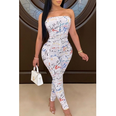 Lovely Chic Dew Shoulder Print White One-piece Jumpsuit