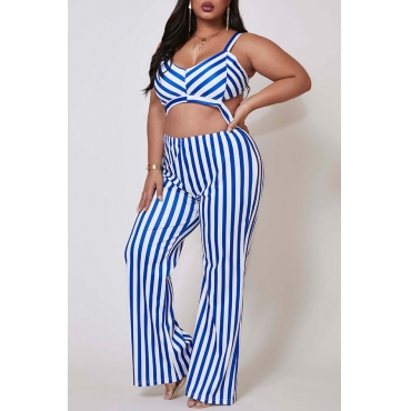 Lovely Trendy Striped Blue Plus Size One-piece Jumpsuit