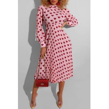 Lovely Sweet Heart Print Pink Mid Calf Dress