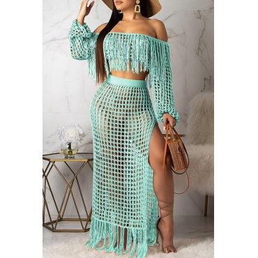 Lovely Tassel Design Cyan Plus Size Cover-up